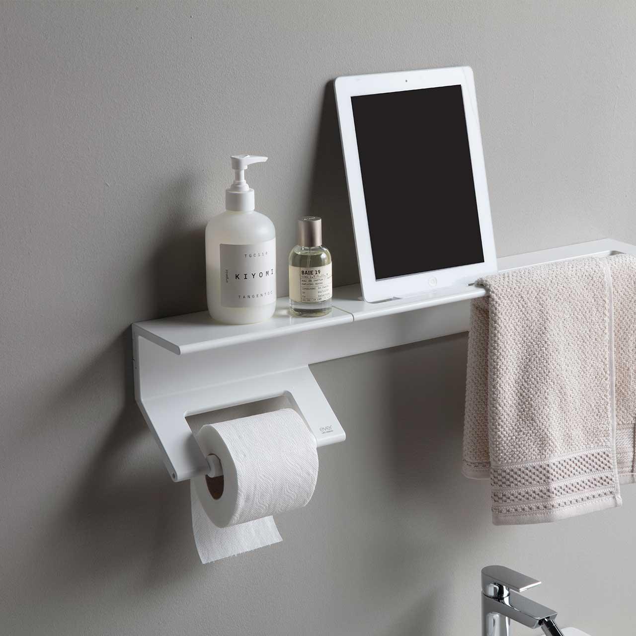 mensola e porta rotolo per il bagno