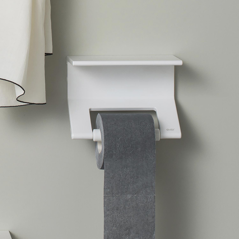 mensola per il bagno bianca con portarotolo
