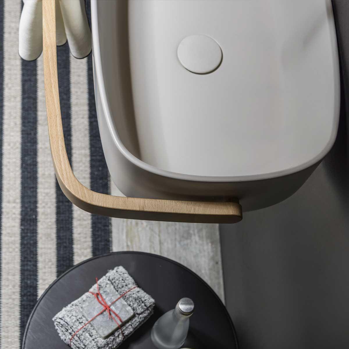 lavabo bagno cristalplant con porta asciugamani frontale ever life design